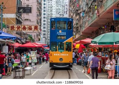 Hong Kong - October 16 2017: Iconic Ding Ding Tram