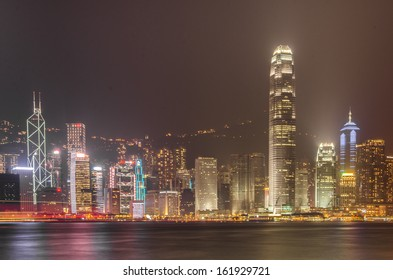 HONG KONG - OCTOBER 20: Hong Island viewed from Victoria Harbor October 20, 2013 in Hong Kong, PRC. With a population of seven million, The city is one of the most densely populated in the world.