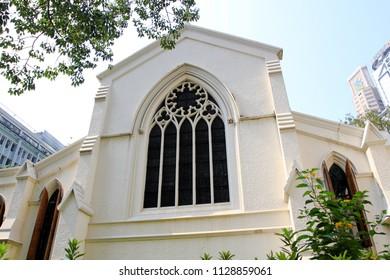 HONG KONG OCTOBER 2011 - Hong Kong government was renovating this white colonial church during summer season