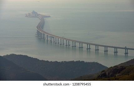 Hong Kong, October 21, 2018: Panoramic view of Hong Kong-Zhuhai-Macau Bridge is seen. The 55km bridge, the world's longest sea crossing, will open on October 24, 2018.