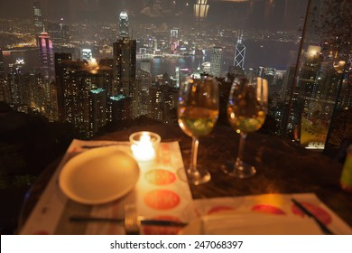 HONG KONG - OCTOBER 3, 2010: View from a restaurant on The Peak. Dining on Victoria Peak, with its spectacular views of the city and harbour, is a very special experience.
