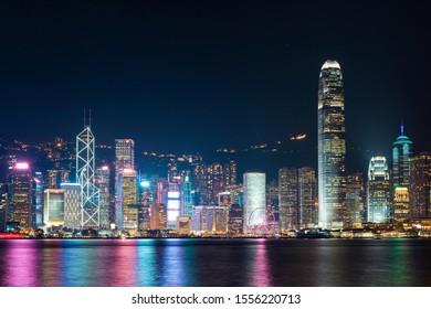Hong Kong - October 3, 2019: Victoria Harbour - Hong Kong skyline at night.