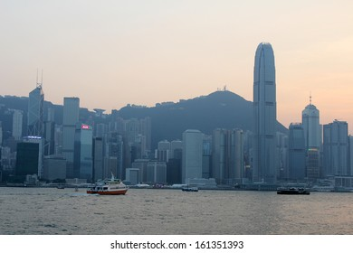HONG KONG - OCTOBER 31: Victoria Harbor on Oct 31, 2013 in Hong Kong, China. With a population of 7 million people, Hong Kong is one of the most densely populated areas in the world
