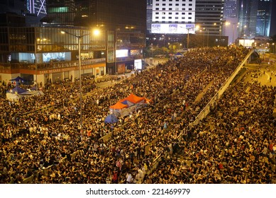HONG KONG - October 4, 2014: Many of protesters continue to occupy the road in Central business area on October 4, 2014. After the violence visited the peaceful protesters on October 3 in Mong Kok.