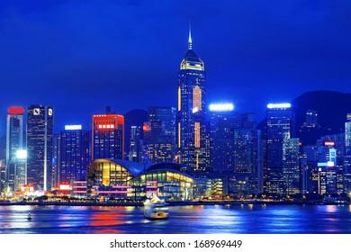 hong kong office building at night