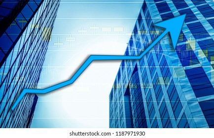 Hong Kong Office buildings with graph index of stock Market (blue bull chart)