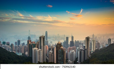 Hong Kong Panorama View from The Peak during Sunrise, Hong Kong, People's Republic of China