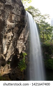Hong kong park beautiful big waterfall