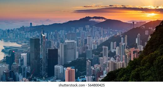 HONG KONG PEAK, HONG KONG - DECEMBER 13, 2016: Sunrise view on Hong Kong Peak. A destination viewpoint to observe Victoria Harbour.