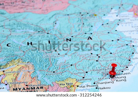 Map Of Asia Hong Kong.Hong Kong Pinned On Map Asia Stock Photo Edit Now 312254246