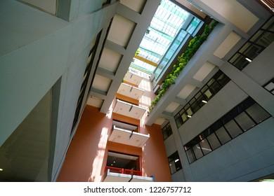 The Hong Kong Polytechnic University, Hung Hom, Kowloon, Kong Kong - 6 October 2018: Landscape of the campus building.