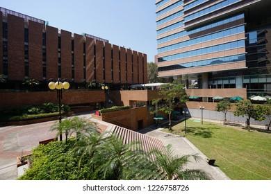 The Hong Kong Polytechnic University, Hung Hom, Kowloon, Kong Kong - 6 October 2018: Landscape of the public square at the campus.