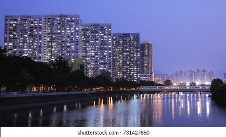 Hong Kong public housing building night