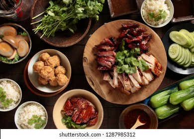 Hong Kong Roast Meal. Assorted roast and barbecue meat and duck, accompanied with several other side dishes.