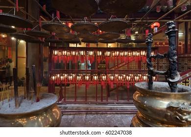 Hong Kong, Hong Kong S.A.R. - January 26, 2017: Interior of the Man Mo Temple at the Hollywood Road in Hong Kong.