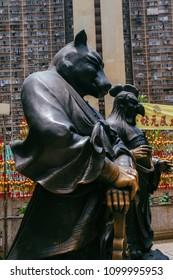 Hong Kong, Hong Kong SAR, May 12 2018, Sik Sik Yuen Wong Tai Sin Temple, Chinese zodiac statue of the rat
