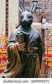 Hong Kong, Hong Kong SAR, May 12 2018, Sik Sik Yuen Wong Tai Sin Temple,Chinese zodiac statue of the rabbit