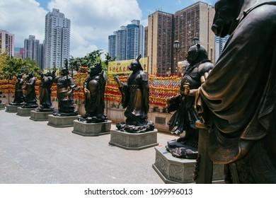 Hong Kong, Hong Kong SAR, May 12 2018, Sik Sik Yuen Wong Tai Sin Temple, signs of the Chinese Zodiac