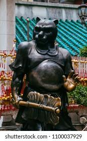 Hong Kong, Hong Kong SAR, May 12 2018, Sik Sik Yuen Wong Tai Sin Temple,Chinese zodiac statue of the tiger