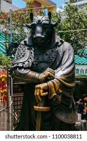 Hong Kong, Hong Kong SAR, May 12 2018, Sik Sik Yuen Wong Tai Sin Temple,Chinese zodiac statue of the oxen