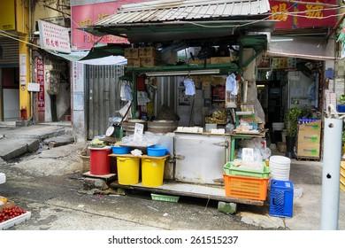 Hong Kong, Hong Kong SAR -November 09, 2014:Market Stall in Graham Street  Market.Graham Street Market is popular tourist destination in Hong Kong.