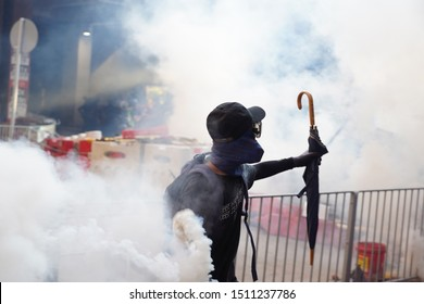 Hong Kong - Sep 21, 2019: Protest in Tuen Mun and Yuen Long against police violence.