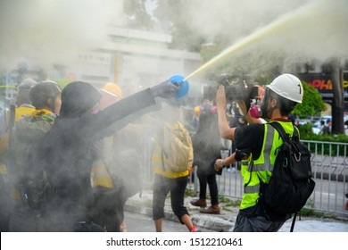 Hong Kong - Sep 21, 2019: Anti-Extradition Law protest at Tuen Mun, approved by Police Force. However, police use Tear gas to disperse the march