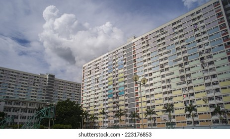 HONG KONG - SEP 3: The colorful Choi Hung Estate on September 3, 2014 in Hong Kong. Choi Hung Estate is one of the oldest public housing with this interesting rainbow color design.