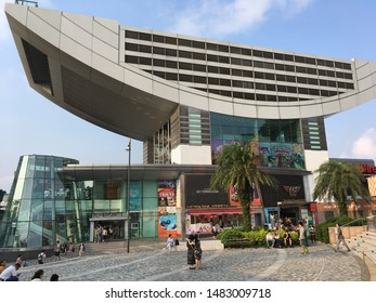 HONG KONG - SEPT 2017: The Peak Tower, a leisure and shopping complex located at Victoria Gap, near the summit of Victoria Peak on Hong Kong Island. It also houses the upper terminal of the Peak Tram.