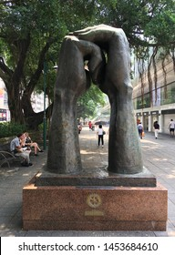 HONG KONG - SEPT 2017: The Please Sculpture, located in Nathan Road. It was made by sculptor Van Lau with the collaboration of Radio Television of Hong Kong, and Kowloon West Rotary Club.