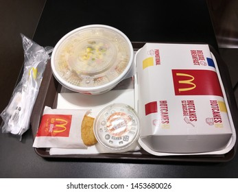 HONG KONG - SEPT 2017: Top view of deluxe breakfast at a McDonalds in Peking Road. McDonalds Corporation is the worlds largest chain of hamburger fast food restaurants serving 68 mln clients daily