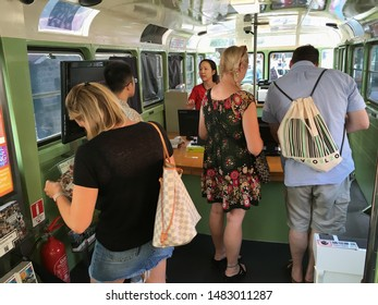 HONG KONG - SEPT 2017: Tourists at Visitor Centre at the Peak, the upper terminus of the Peak Tram, a funicular railway in Hong Kong Island. It is located 150 metres below the summit of Victoria Peak.