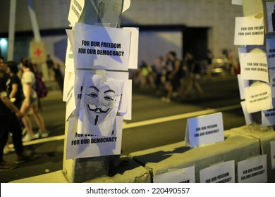 HONG KONG, SEPT.29: Crowd of protesters poster on the road in Central on 29 September 2014. after riot police fire tear shell to the peaceful protesters on 28 sept, more people join the protest