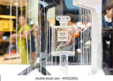 """HONG KONG - SEPTEMBER 02, 2016: close up shot of Chanel No. 5 in a store. Chanel No. 5 is the first perfume launched by French couturier Gabrielle """"Coco"""" Chanel."""