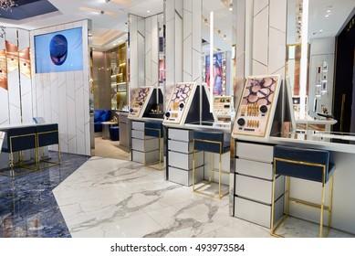 HONG KONG - SEPTEMBER 02, 2016: cosmetics store in Hong Kong. Hong Kong's cosmetics market is highly competitive and having no sales taxes