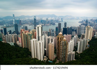 Hong Kong - September 1, 2018: View of the skyscrapers and the Hong Kong Bay from above.
