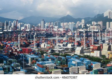 HONG KONG, HONG KONG - SEPTEMBER 11, 2016: Hong Kong industrial port with container cargo for export and import merchandise