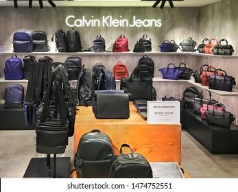 HONG KONG - SEPTEMBER 15, 2017: Calvin Klein Jeans store in SOGO Tsim Sha Tsui mall. Calvin Klein Inc. is an American fashion house founded by the fashion designer Calvin Klein.