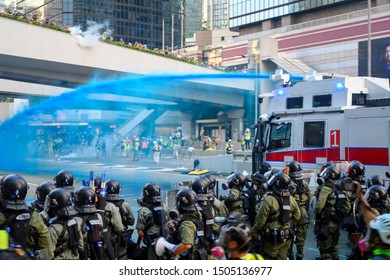 Hong Kong - September 15, 2019: Protest against extradition law in Hong Kong turned into another police conflict.