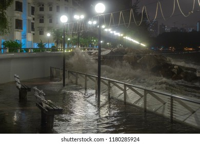 Hong Kong, September 16, 2018: The promenade in Heng Fa Chuen on the east of Hong Kong Island is inundated by rough waves as Severe Typhoon Mangkhut hits the city.