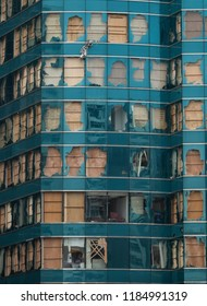 Hong Kong, September 20, 2018: Dozens of window panels at an office tower in Hung Hom were blown out by Typhoon Mangkhut last Sunday. Typhoon Mangkhut is Hong Kong's strongest storm on record.