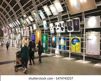 HONG KONG - SEPTEMBER 2017: The international poster collection of Hong Kong Heritage Museum is displayed at Hong Kong International airport