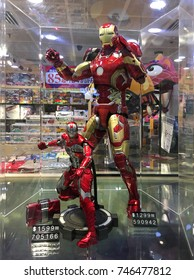 HONG KONG - SEPTEMBER 2017: Iron man toys at the Play N Go store in the Hong Kong international airport. It is the main airport in Hong Kong located on the island of Chek Lap Kok