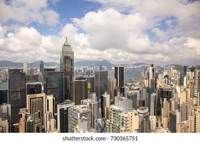 Hong Kong - September 22, 2017: Aerial view Central Plaza skyscraper and Wan Chai district with victoria harbour and kowloon background.Wan Chai is one of the busiest commercial areas in Hong Kong.