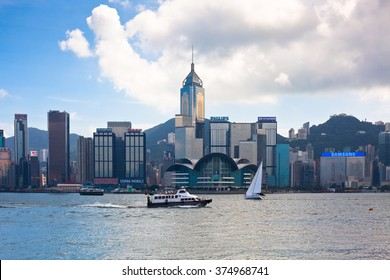 HONG KONG, HONG KONG - SEPTEMBER 22: sea front view with luxurious buildings in Hong Kong on September 22, 2012
