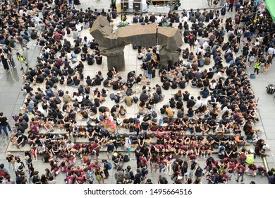 HONG KONG - SEPTEMBER 2,2019, Million of Student Protesters, a large Boycott Classes Assembly held on Million Boulevard in Chinese University of Hong Kong, Sha Tin District