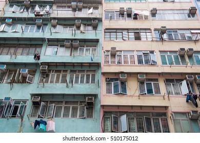 Hong Kong - September 23, 2016 :windows of residential building in town, Hong Kong
