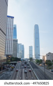 HONG KONG - SEPTEMBER 24, 2015: Hong Kong city and traffic of street at day time at Hong Kong, China