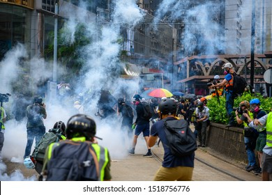 Hong Kong - September 29, 2019: Protest against extradition law in Hong Kong turned into another police conflict.