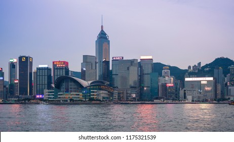 Hong Kong - September 7, 2018: The Hong Kong Convention and Exhibition Centre (HKCEC) and Hong Kong Skyline in the evening.
